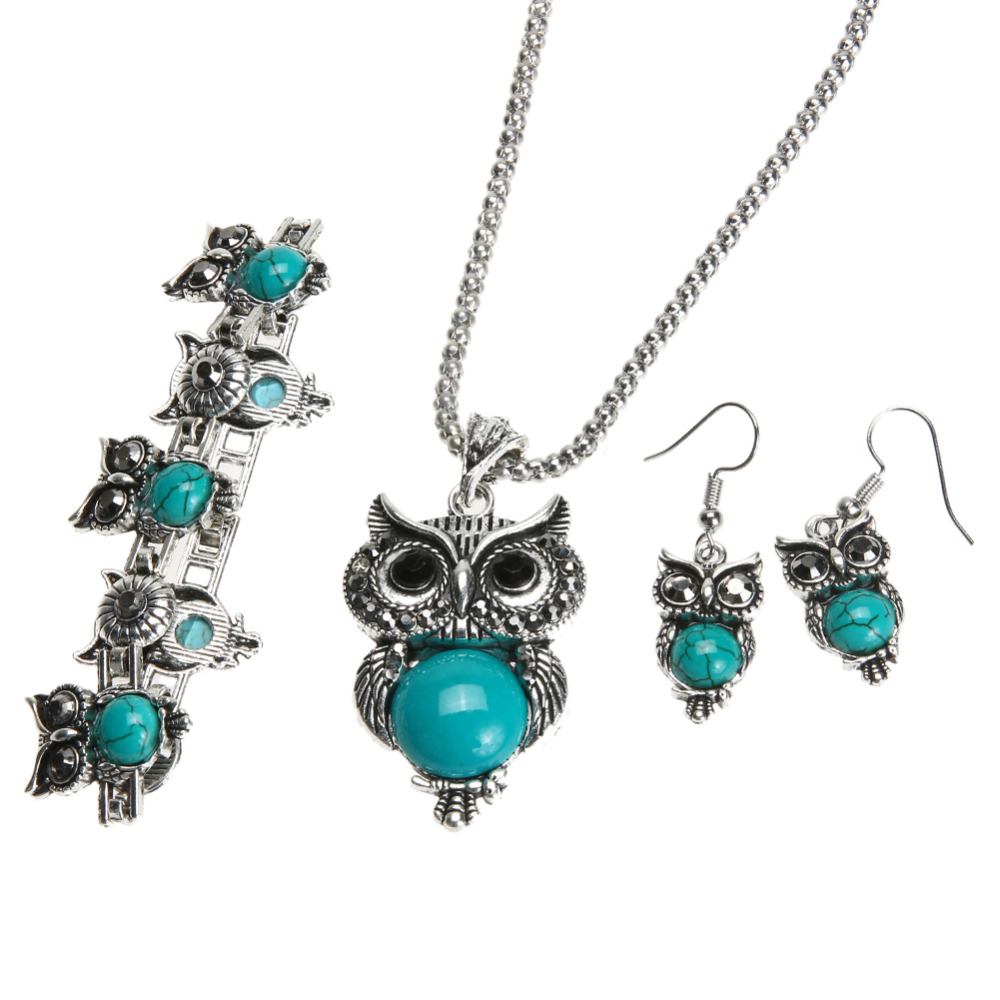 Owl Jewellery Set Autumn Style Tibetan Vintage Silver Synthetic Stone Pendant Owl Necklace /Earrings / Bracelet Jewelry Set Gift