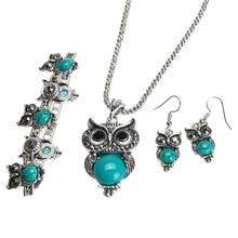 Owl Jewellery Set Autumn Style Tibetan Vintage Silver Synthe