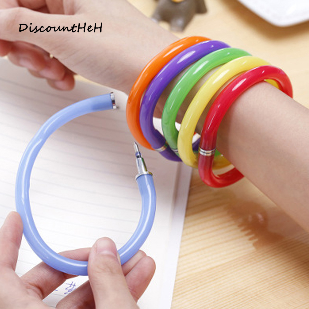 Creative Flexible Cute Soft Plastic Bangle Bracelet Ballpoint Pens School Office Supplies Gifts For Children Color