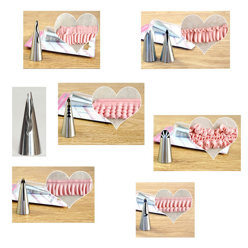 Cake Cream Decoration Silicone Pastry Bag + 7pcs Frills Tips Set Rostfritt Stål Icing Piping Munstycken Set Bakverktyg