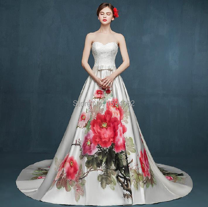 2017 New Original Hand Painted Peony Vintage Lace Bra A Luxury Trailing Wedding Dress Skirt In Dresses From Weddings Events On Aliexpress