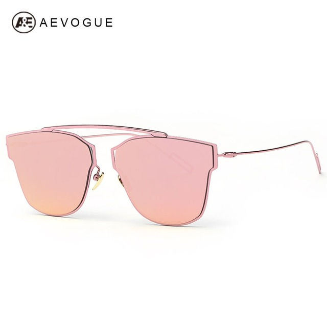 AEVOGUE Sunglasses Women Copper Frame Reflective Coating Mirror Flat Panel Lens Brand Designer Sun Glasses With Box UV400 AE0329
