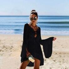 Beach Dress Bikini Women Swimsuit Cover Up Knitting Swimwear Mesh Tunic Robe Bathing Suit Ups