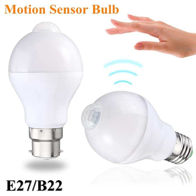 Smuxi 12W Motion Sensor LED Lamp Bulb E27 B22 Smart Auto PIR Sensor LED Light Bulb 220V 110V Warm Pure White Night Lighting