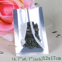 12x17cm plain pocket,200 x Top Open Translucent Plating Aluminum foil Bags, Front clear Metallic aluminized Foil pouch Heat seal