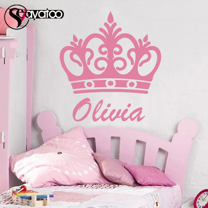 Crown Princess Prince Customize Name Vinyl Wall Sticker Decal Boys Girls Bedroom Stickers 45x53cm Wall Stickers Aliexpress