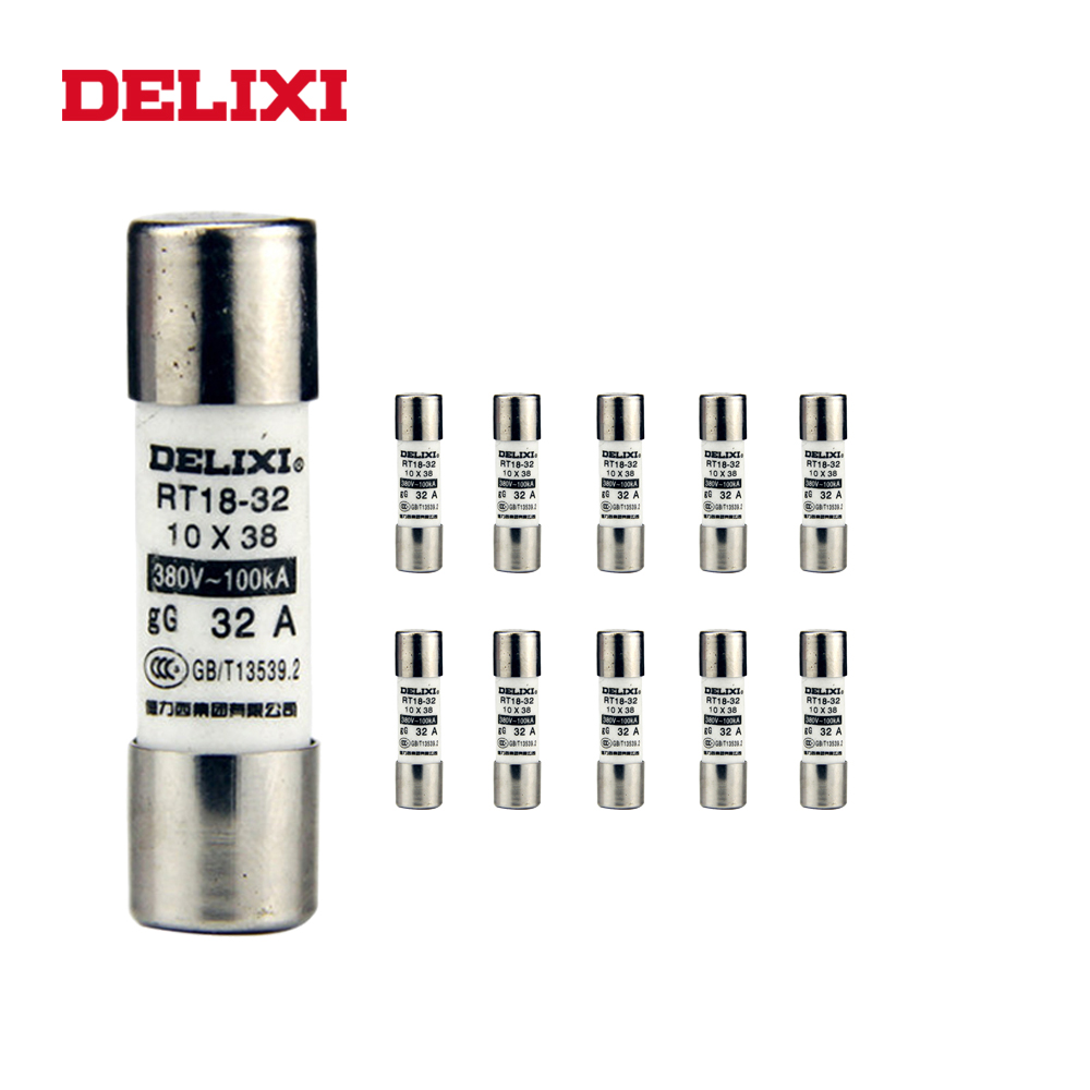 DELIXI 10pcs 10 x 38mm RT14 RT18 Quick Glass Tube Fast Blow Ceramic <font><b>Fuses</b></font> 2A/3A/4A/5A/6A/10A /<font><b>16A</b></font>/20A/25A/32A Assorted Kit <font><b>Fuse</b></font> image