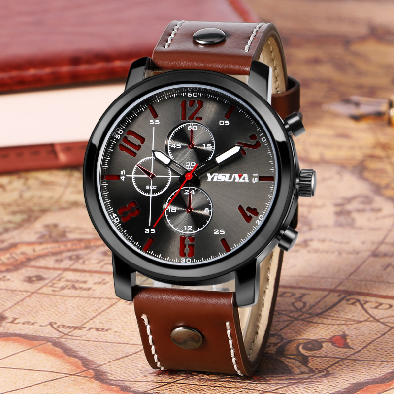 Hot New Fashion Sport Wrist Watch Men Luxury Aviator Quartz Pin Buckle Cool Trendy Outdoor Leather Band Watch Decorate Dials hot sale fashion pilot aviator military army style dial scrub leather band quartz analog casual outdoor sport watch for men