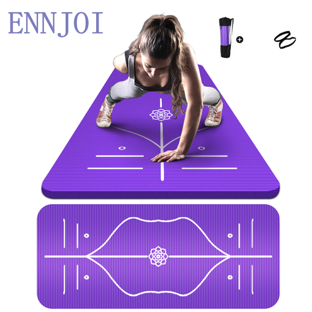 ENNJOI Position Line Premium Yoga Mats Tasteless Non-slip Beginners Exercise Gymnastics Pilate Yoga Mat 185cm x 80cm x 10mm