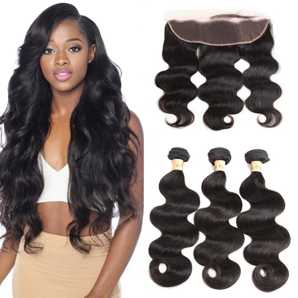 HANNE Brazilian Virgin Hair Body Wave 3 Bundles with Frontal 100% Unprocessed Human Hair Extensions with 13x4 Lace Frontal 1B#