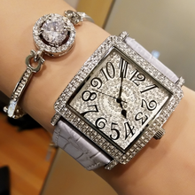 Fashion Lady's Watch Is Square Full Diamond Female Watch Arabic Numerals Digital Scale Quartz Watch Genuine Leather Watchband все цены