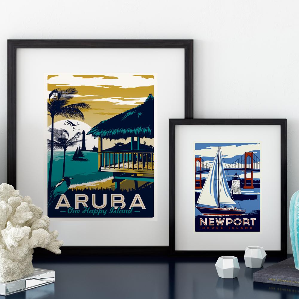 Kumsal duvar boyas rengi ile modern ve k ev dekorasyonu - Retro Poster K K Sanat Tuval Bask Hawaii Ocean Beach D Nyaca Nl Turistik Manzara Resimleri Modern Ev Dekorasyon Ot006
