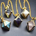 Small Size Mix Natural Stones Pyramid Shape Pendant Linked Chains Necklace Fashion Woman Jewelry