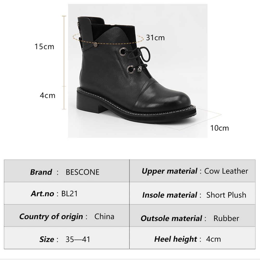 BESCONE bayanlar yarım çizmeler temel yuvarlak Toe hakiki inek deri kare topuk ayakkabı rahat el yapımı dantel-up kadın botları BL21