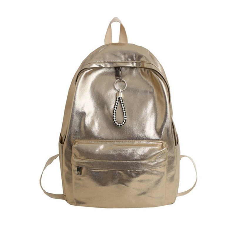 Golden Backpack Solid Silver School Bag For Girls Or Boys College Style Large Capacity Leisure Or Travel Bag For Women Package