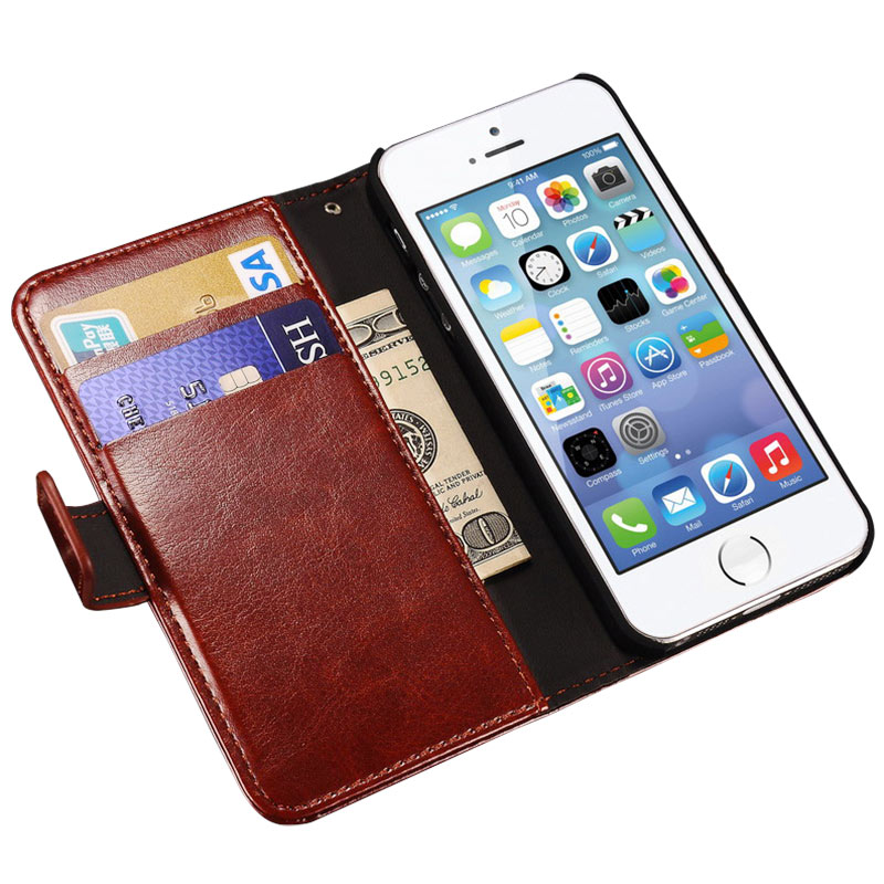 Luxury Wallet Flip Case For iPhone 5s 5 SE Apple Brand PU Leather Cover + Card Holder Stand Phone Bag Coque Fundas For iPhone5