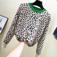 Bump color leopard sweater female easy lazy wind round neck long sleeve blouse outfit 2018 new shirt knit wears