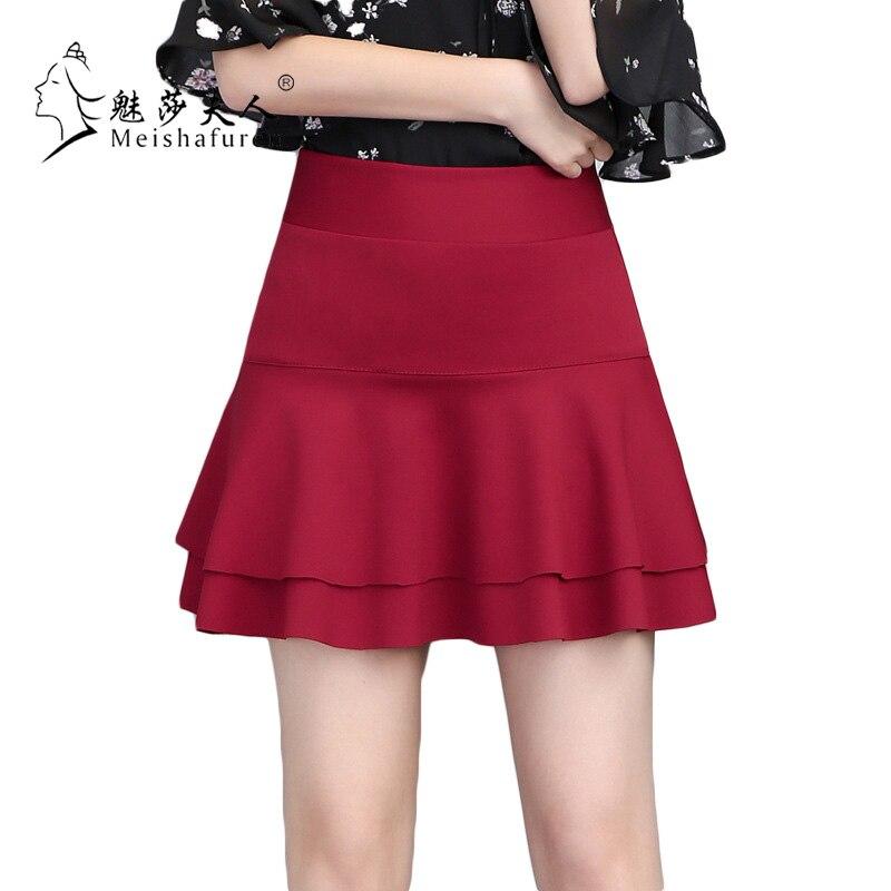 Lato Kobiety Mini Szorty Spódnice damskie Solid Color Flare Hem Skorts Spódnica OL Urząd Ladies Casual Mini Szorty Jednolitym kolorze K1C
