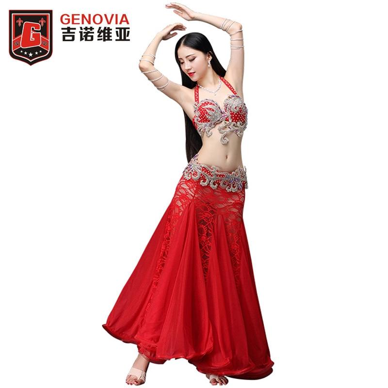 preț rezonabil mărci recunoscute textură bună Cumpără Etapa & dans uzura | Professional Belly Dance Costume Set Bellydance  Performance Diamond 3PCS Suit Bra & Belt & Lace Long Skirt Belly Dance  Costumes