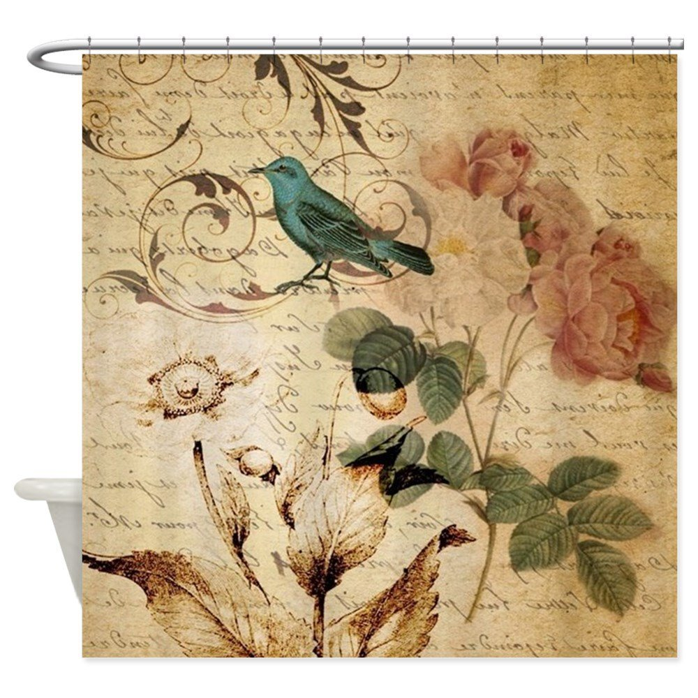 Vintage Rose Bird Paris French Bota Decorative Fabric Shower Curtain For Bathroom Waterp ...