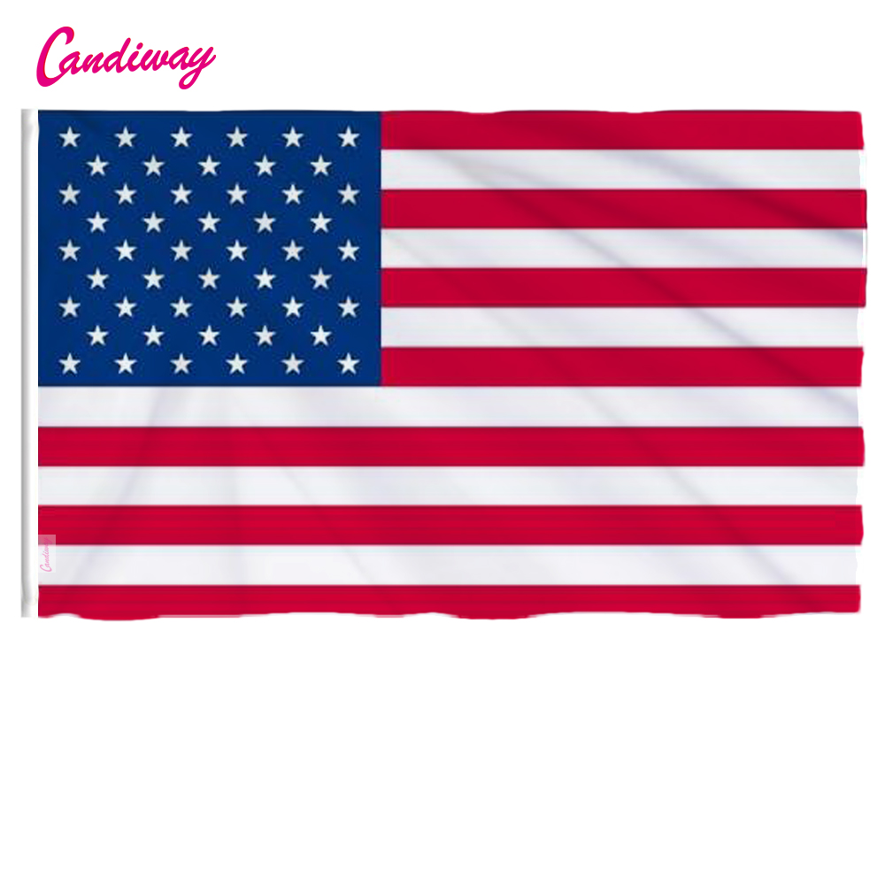 Candiway USA Flags American US Vivid Color y UV Fundido de lona resistente a la decoloración Doble costura USA Banner Banderas