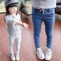Kindstraum 2017 outono nova jeans para meninas marca crianças calças jeans sólidos vasual calças cintura elástica para crianças, rc655