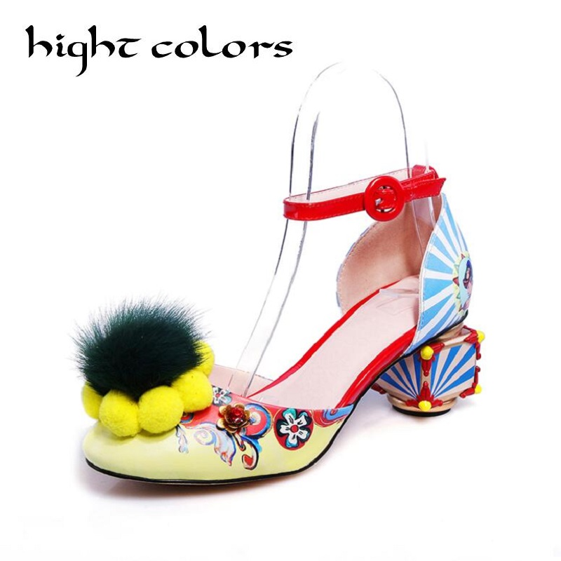 European stations fur ball abnormal heels national wind single shoes black yellow sandals for women plus size party dress shoes rosenhan abnormal psychology 2ed paper