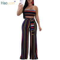HAOYUAN Sexy Two Piece Set Women 2018 Summer Striped Strapless Crop Top And Wide Leg Pants