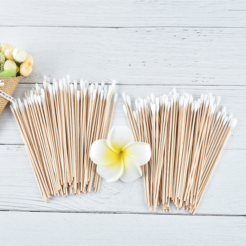 100Pcs/pack Wood Handle Cotton Swabs 15cm Medical Swab Extra Long Sturdy Cotton Applicator Swab Make Up Tools High Quality
