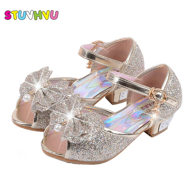 4a4af3b3805 Fashion girl high heels sandals children sandals snow princess shoes 3 4 5  6 7 8 9 years old kids baby blue pink gold silver