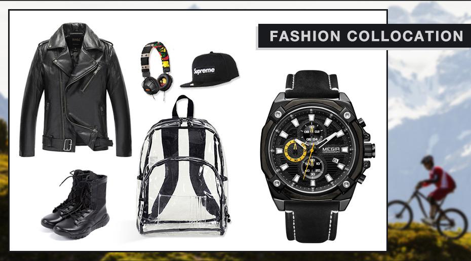 Topdudes.com - MEGIR Stylish Chronograph Army Sports Quartz Watch