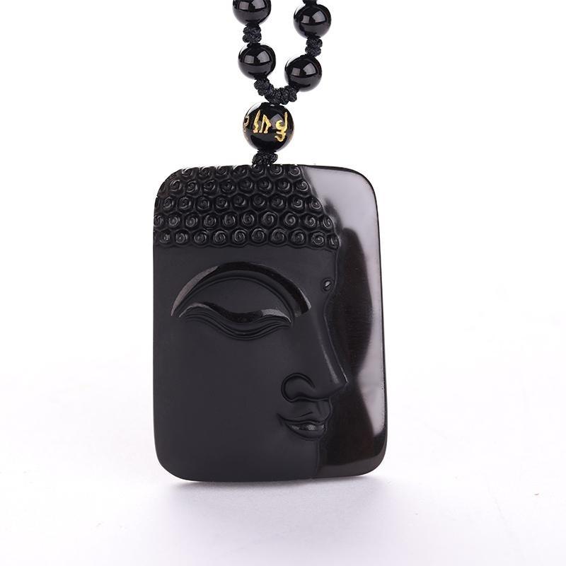 obsidian Vintage Necklace Black Jade Pendant Buddha Head For women&men Jewelry