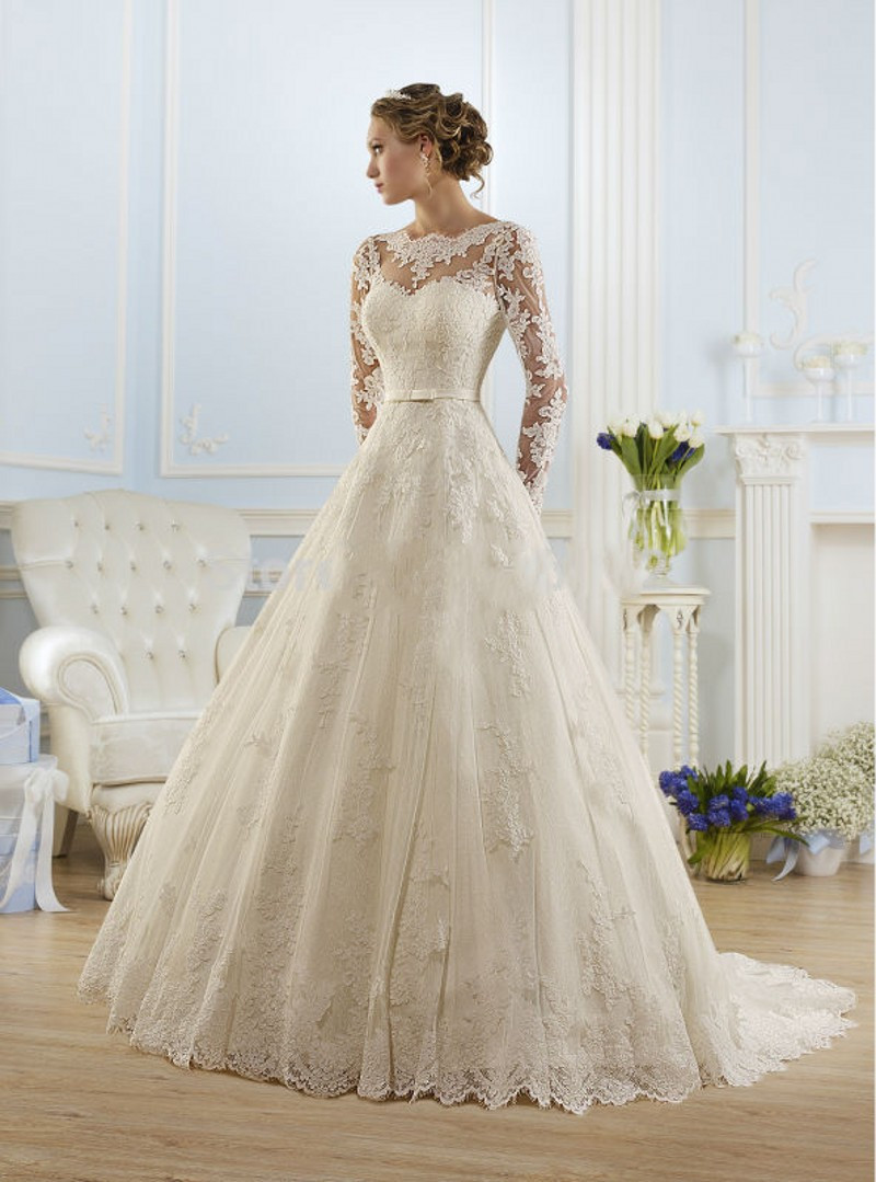 Vestido De Noiva 2016 New Fashionable Elegant High Neckline A Line Long Sleeve Wedding Dress Lace Bridal Gown