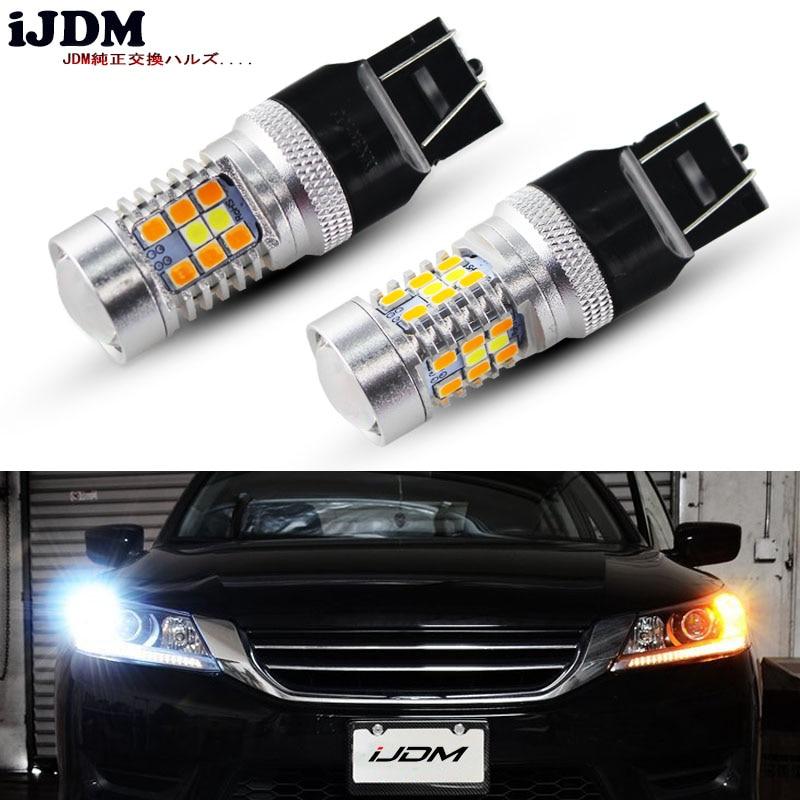 IJMD BAY15D Светодиодные Автомобильные 7443 Светодиодные лампы 3157 Светодиодные белые/Янтарные светодиодные лампы для вождения/парковочных огней ...