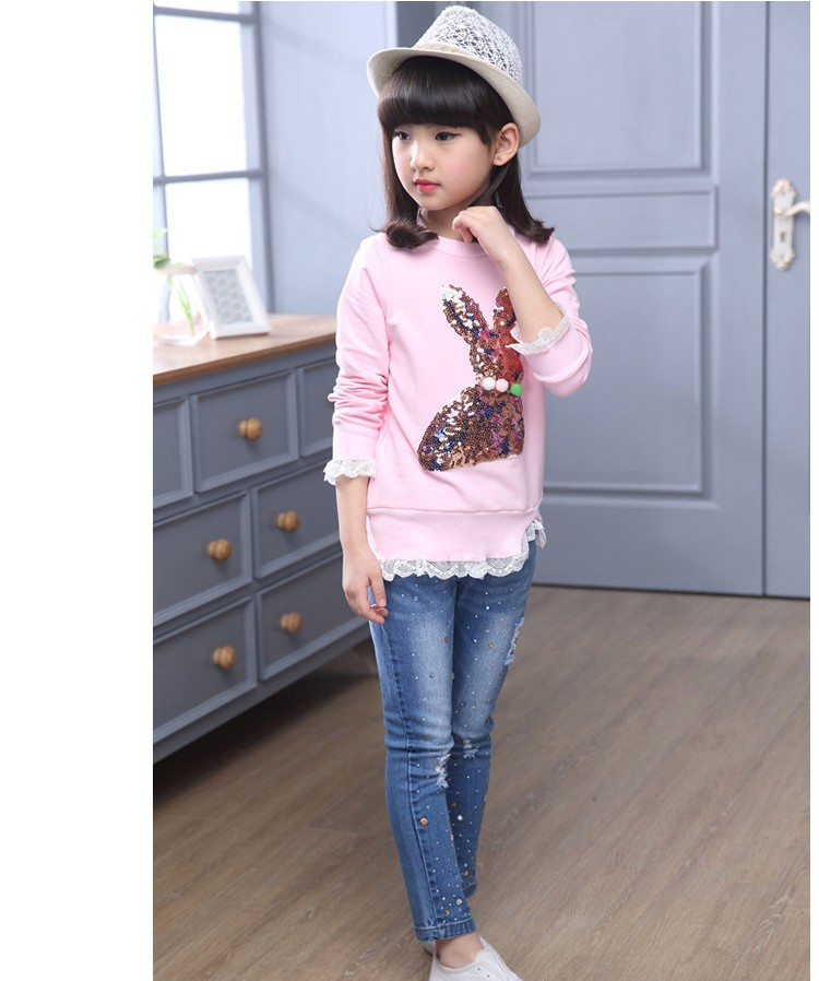 2016 new arrive sequined rebbit charatcer gray pink girls sweatshirt spring long sleeve kids clothes girls tops clothes 8 10 12 14 years girls clothing  6 7 8 9 10 11 12 13 14 15 16 children clothing (10)