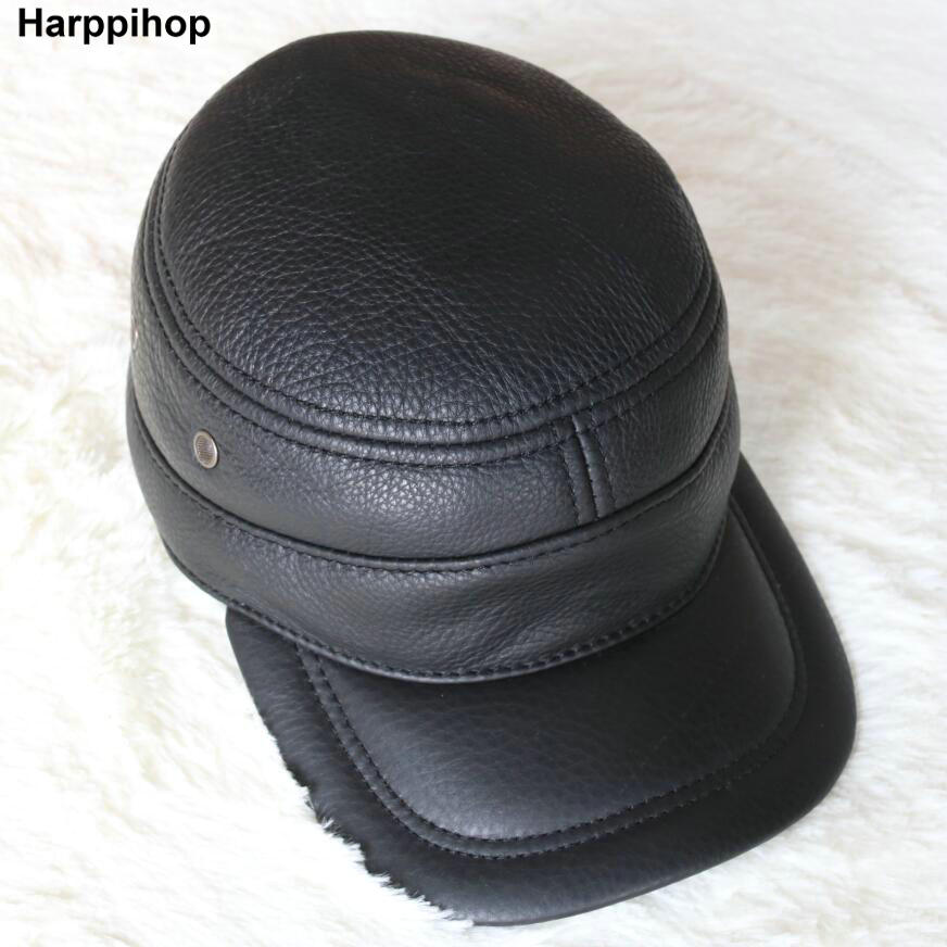 Harppihop Men's genuine leather baseball cap brand new winter warm real cow leather caps hats 50pcs cheap heather slouch beanie caps mens winter knitting baggy skull hats women knitted beanies new oversized skullies cap
