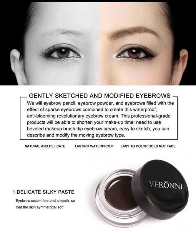 Veronni 8 Colors No Shading Durable Eyebrow Pomade Gel Waterproof