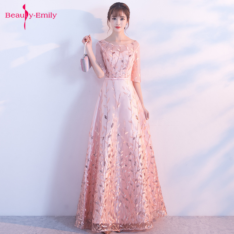 Beauty Emily 2019 Pink O Neck Evening Party Dresses Lace Appliques Floral Sequins Prom Gowns Tulle Elegant Party Dress Vestido