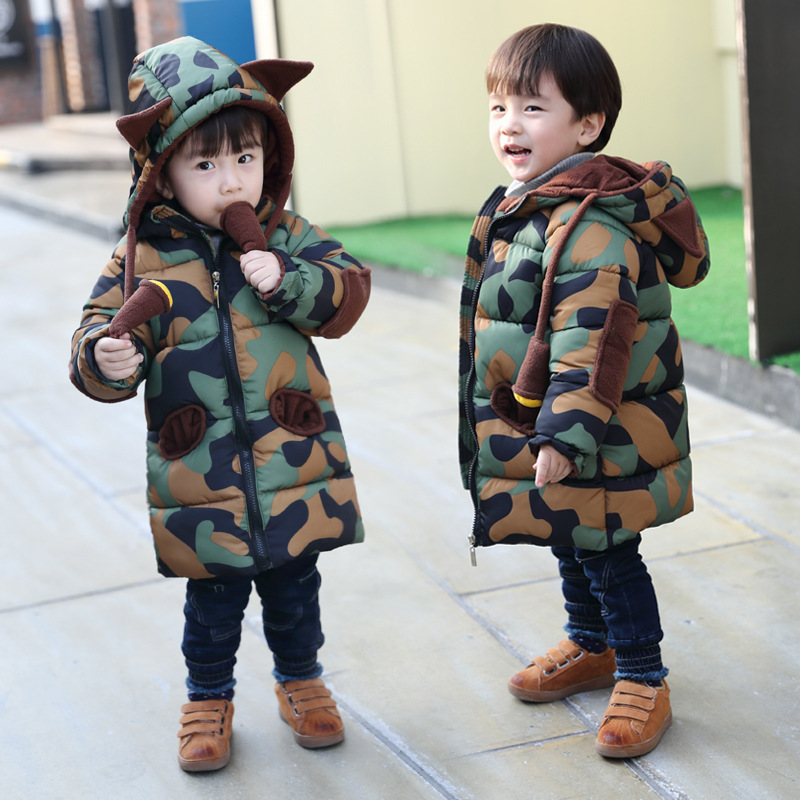 new boy's cotton jacket in the long section children's thick cotton jacket winter fashion coats Children's clothing MF-308 in the winter of 2015 the new cotton jacket mixed male clothing winter cotton thickened 5 color free delivery