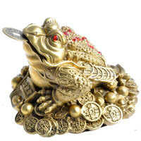 Feng Shui Three Legged Money For Frog Fortune Brass Toad Figurin Chinese Coin Metal Craft Home Decor Gift Decoration Accessories