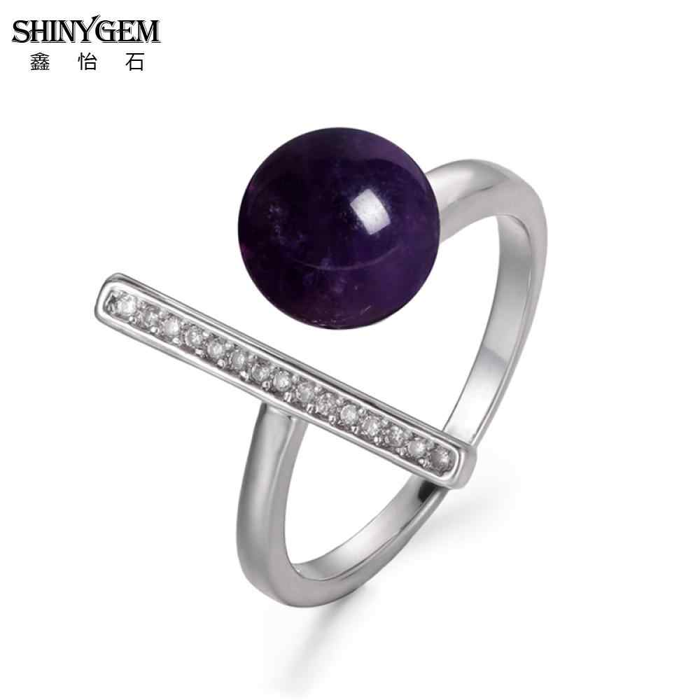 ShinyGem ลูกปัดหินธรรมชาติ 8 มม. สแตนเลสสตีลควอตซ์ Agates คริสตัลอเมทิสต์ Jades Tiger Eye อัญมณีแหวนหินสำหรับผู้หญิง