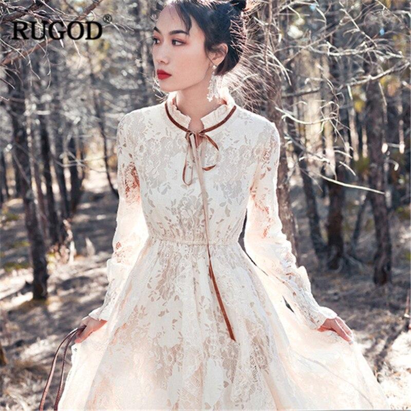 RUGOD New 2019 Lace Translucent elegant Dress Women mesh Autumn Floral print bow tied Long Sleeve