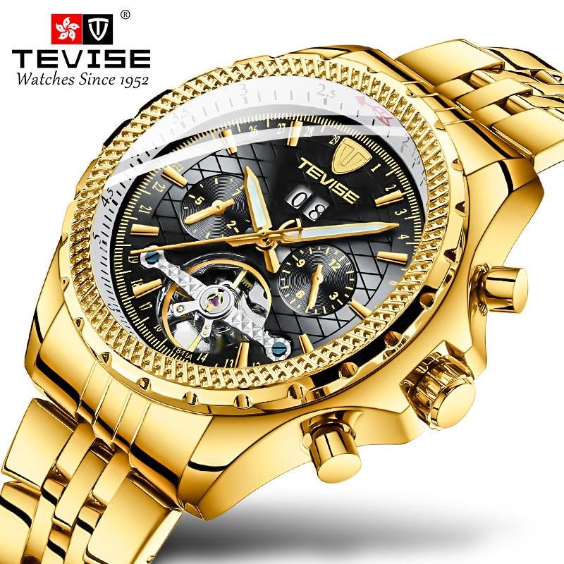 Men Watch Automatico Mechanical Watches TEVISE Men Business Waterproof Skeleton Gold Black Toubillon Watch