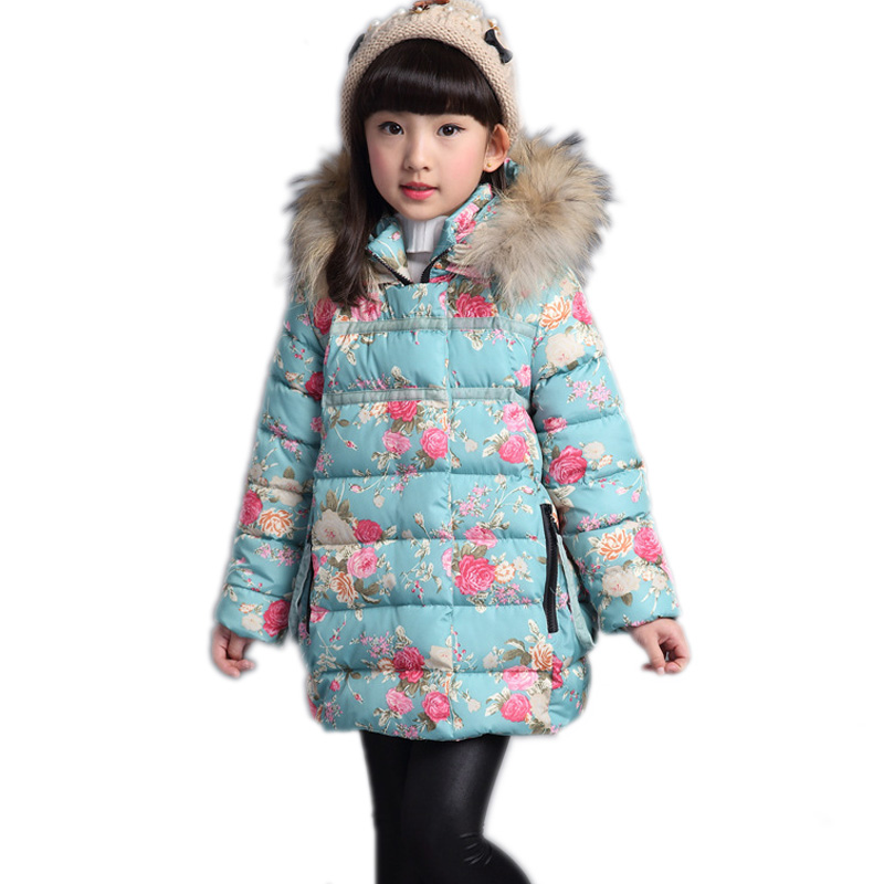 kids winter parka coat 2017 new baby girl coats floral printed hooded children winter jackets for girls thick warm girls parkas мельница для соли и перца 16 см gipfel 9040
