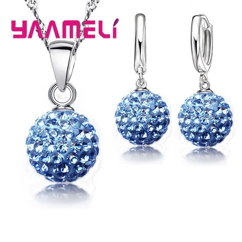 925 Sterling Silber Braut Strass Schmuck Sets Für Frauen Hochzeit Geschenke CZ Gepflasterte Disco Ball Halskette Hoop Ohrringe