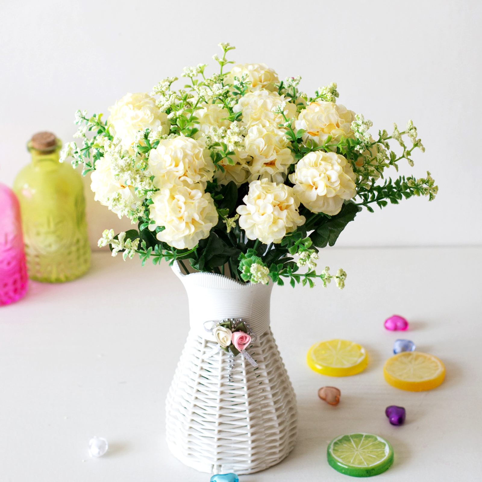 Us 1 56 30 Off 1pcs 29cm Simulation Ball Chrysanthemum Small Bunch Diy Wedding Bridal Bouquet Home Party Decoration Fake Flower Birthday Gift In