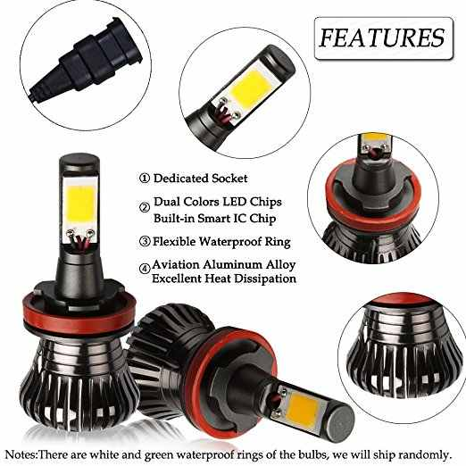 Car led Bulb Fog Lights Dual Color Flash automobiles H3 H8 H11 9005 HB3 HB4 9005 9006 H27 880 881 6000k White Blue Yellow 30W