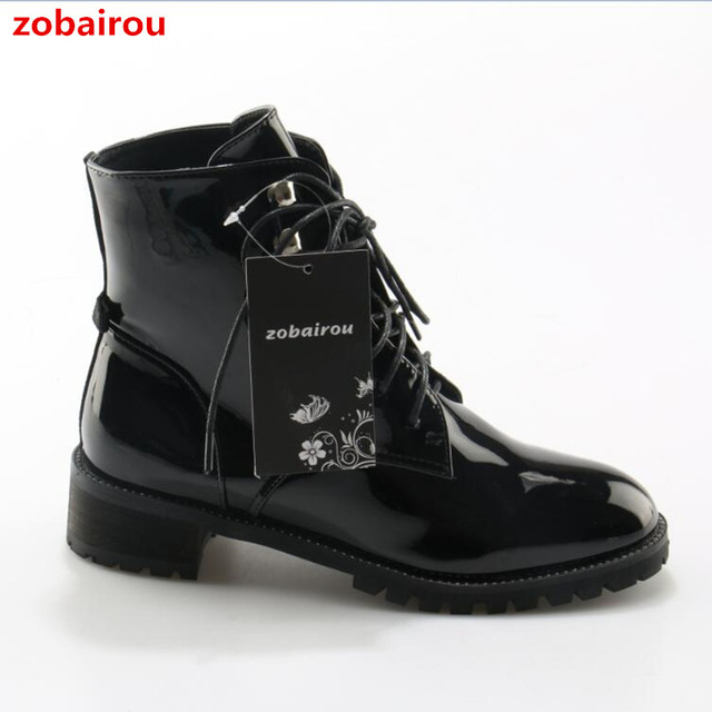 28b6e31dd4a US $73.65 35% OFF|Western Chic Bella Hadid Outfit Combat Boots Fashion  Women Shoes Patent Leather Lace Up Studded Motorcycle Booties-in Ankle  Boots ...