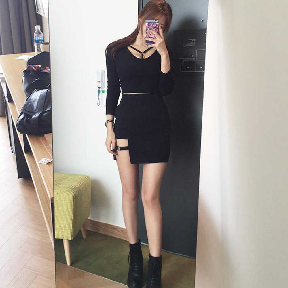 KLV kobiety lato Harajuku Sexy nieregularne wysoki bandaż w talii spódnica kobiet czarny Gothic Mini Bodycon krótka spódnica smukła odzież klubowa