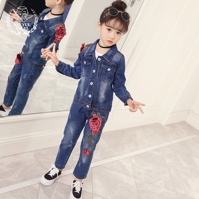 2018 New Fashion Spring Korean Style Denim Girl Sets Autumn Embridery Floral Long Sleeve Jacket Jeans Clothing 2Pcs Girls Suit sokotoo men s colored painted snake 3d print jeans fashion black slim stretch denim pants